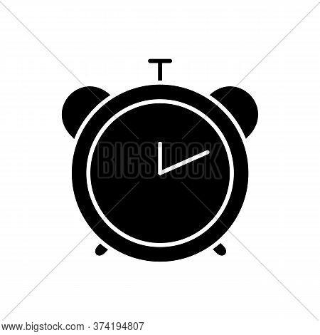 Alarm Clock Black Glyph Icon. Retro Mechanical Watch. Countdown To Deadline. Office Clock. Analog Ti