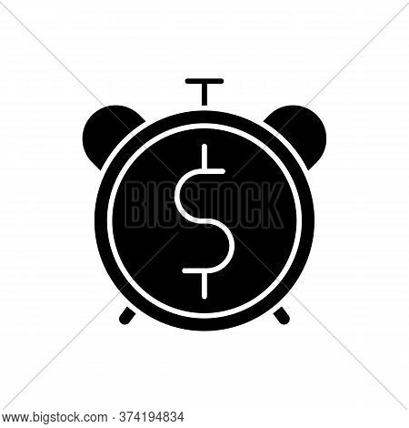Countdown To Payout Black Glyph Icon. Alarm Clock With Dollar Sign. Future Fund. Money Viability. Fi