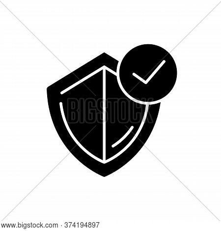 General Insurance Black Glyph Icon. Protection Shield With Checkmark. Quality Control Policy. Judici