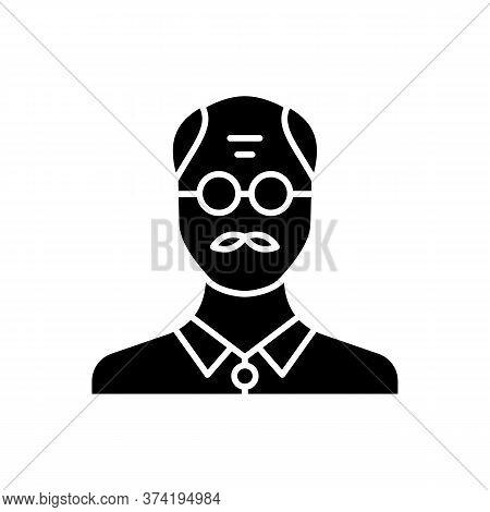 Senior Man Black Glyph Icon. Male Elder. Old Person. Grandfather With Mustache. Middle Age Human Ava