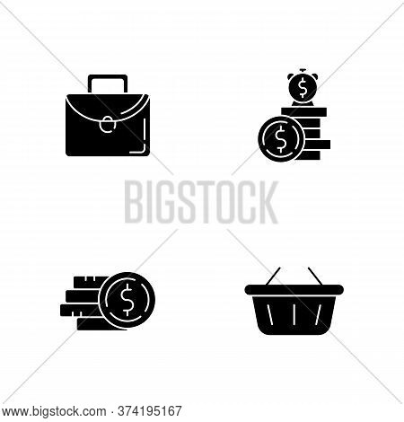 Money Investment Black Glyph Icons Set On White Space. Work Briefcase. Stack Of Cash. Deposit Payout