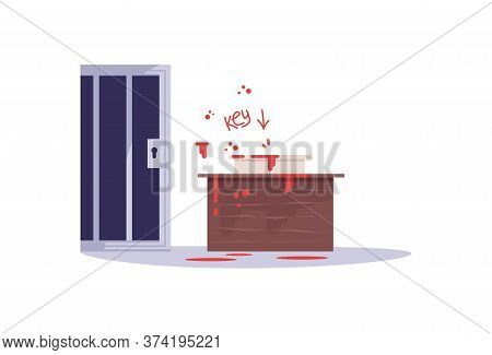 Escape Room Challenge Semi Flat Rgb Color Vector Illustration. Closed Door And Creepy Hint Isolated