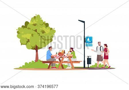 Couple Sitting At A Picnic Table In Park Semi Flat Rgb Color Vector Illustration. Man And Woman Walk