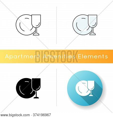 Tableware Icon. Clean Dish And Glass. Kitchen Dinnerware. Empty Cup. Clear Glassware From Dishwasher