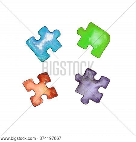 Watercolor Illustration.childrens Puzzle Paper Puzzle, A Set Of Colorful Puzzle Pieces. Isolated On