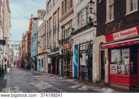 London, Uk - June 13, 2020: Closed Bars And Restaurants In Kingly Street, Famous Street In Soho Runn