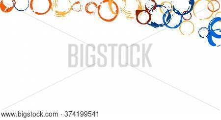 Multicolored Abstract Grunge Hand Drawn Circle Stamps Print On White Background. Frame From Circular