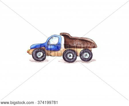 Watercolor Illustration.childrens Toy Dump Truck With Blue Cab. Isolated On A White Background