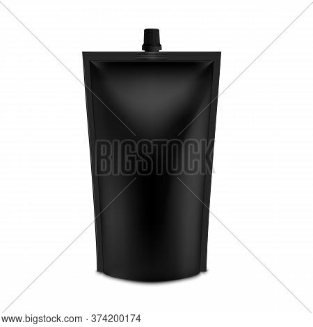 Realistic Black Blank Doy Pack Mock Up. Vector Doypack Template Packing With Screw Cap.