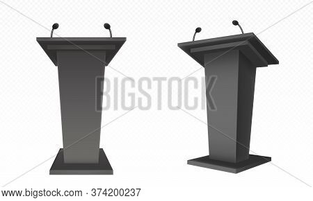 Black Pulpit, Podium Or Tribune Front Side View. Rostrum Stand With Microphone For Conference Debate