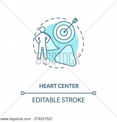 Heart Center Turquoise Concept Icon. Personal Will. Ego And Motivation. Chakra In Body System. Human