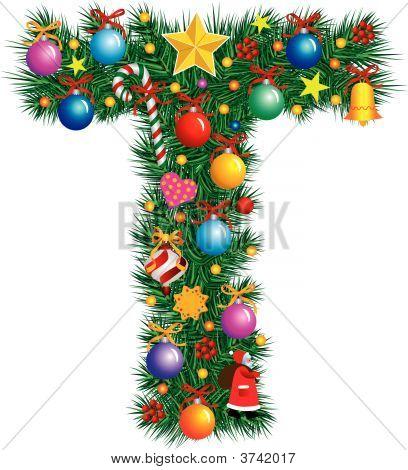 Alphabet Letter T - Christmas Decoration