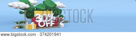 30 Thirty Percent Off - Easter Sale 3d Illustration. Banner With Copy Space.