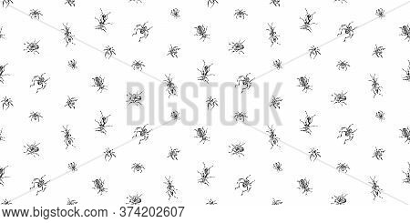 Hand Drawn Seamless Pattern With Beetles Collection. Sketch Style Vector Illustration. Black Isolate