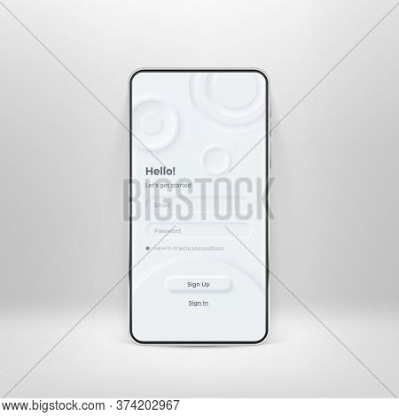 Neumorphic Ui Kit On Smartphone Screen. Login And Registration Form On White Smartphone Template. In