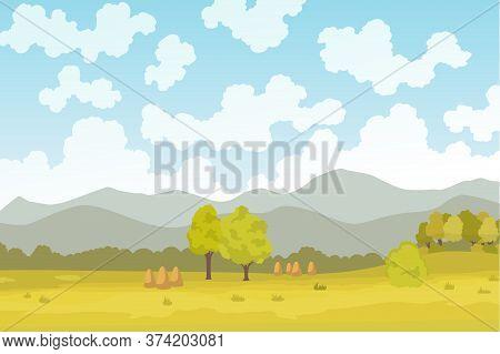 Eco Farming. Meadow Illustration Eco Natural Farming Concept. Ecological Green Farming. Cartoon Vect