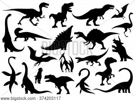 Dinosaur Silhouettes Set. Dino Monsters Icons. Prehistoric Reptile Monsters. Vector Illustration Iso