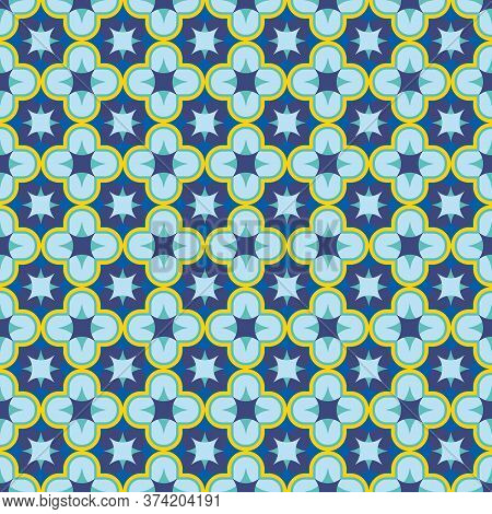 Blue Seamless Antique Arabesque Patern. Oriental Arabic Or Moroccan Ornament Mosaic. Can Be Used As
