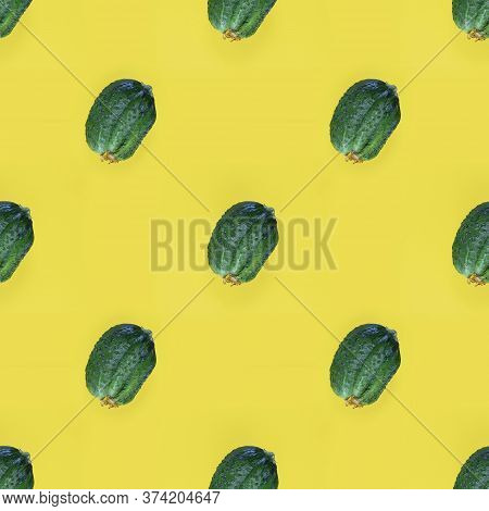 Photographic Collage. Seamless Pattern With Fresh Ugly Triple Green Organic Cucumber, Vegetable With