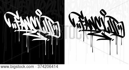 Abstract Hip Hop Hand Written Graffiti Style Word Fanclub Vector Illustration Art