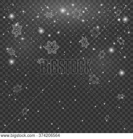 Fog, Snowfall. Abstract Snowflake Background. Magic Snowfall. Winter Design Elements For Card, Poste