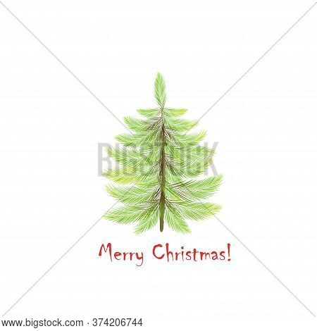 Christmas Tree. Card Design With A Hand Drawn Black Christmas Tree With Merry Christmas Text. Minima