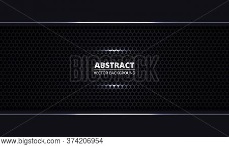 Black Abstract Background. Black Metal Texture Steel Hexagon Grid Background. Dark Carbon Fiber Text