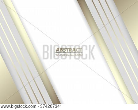 White Luxury Abstract Modern Background With White And Golden Lines And Shadows. Modern White Royal