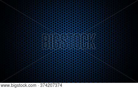 Dark Blue Background. Dark Hexagon Carbon Fiber Texture. Navy Blue Honeycomb Metal Texture Steel Bac
