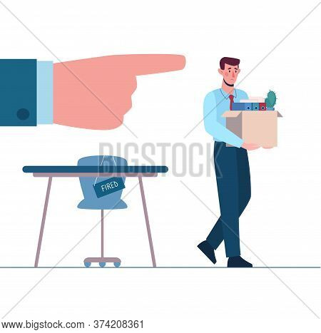 Dismissed Employee, Unemployment. Fired Man Leaves The Office With A Box In His Hands. Person Withou