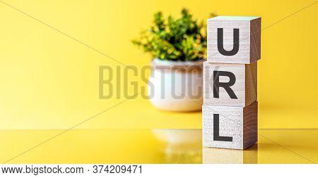 Word Url - Uniform Resource Locator - On Yellow Background