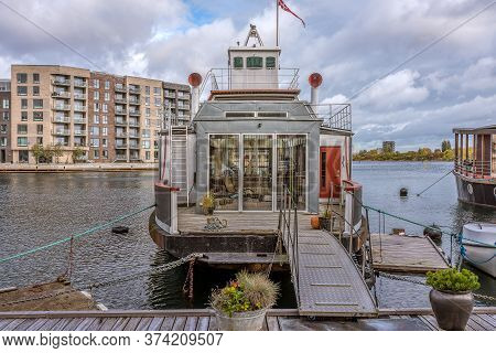Gangway To A Modern Houseboat In The South Harbour Of Copenhagen, October 12, 2019