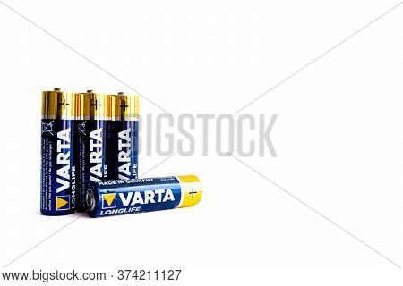 Kiev, Urkaine, 18 June 2020, Fourvarta Aa Alkaline Batteries Are On White Background, Isolated, One