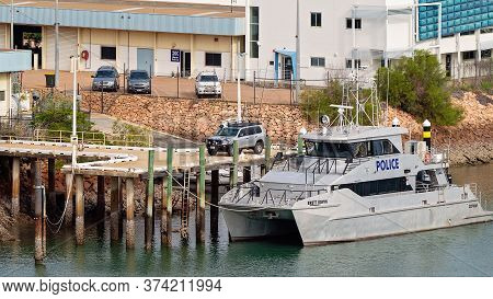 Townsville, Queensland, Australia - June 2020: A Water Police Catamaran Berthed At A Wharf In The Ci