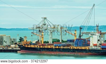 Townsville, Queensland, Australia - June 2020: An Overseas Ship In Port At The Industrial Wharf With