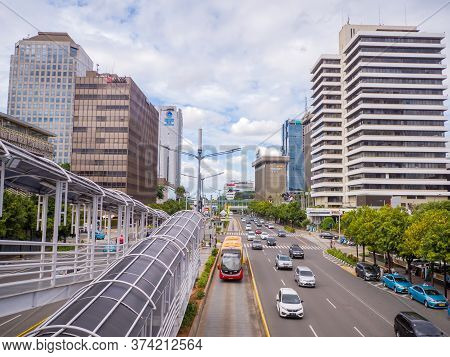 Jakarta, Indonesia - January 15, 2019: Day Road Traffic In The City Of Jakarta. Indonesia.