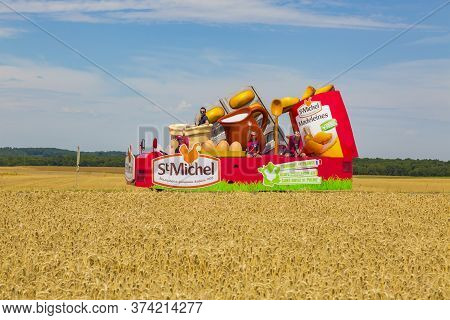 Vendeuvre-sur-barse, France - 6 July, 2017: The Vehicle Of St. Michel Madeleines Passes Through A Re
