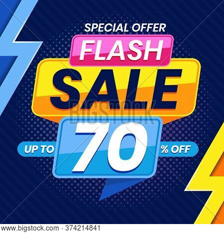 Vector Graphic Of Modern Colorful Flash Sale 70 Percent Advertising Banner Background. Perfect For R