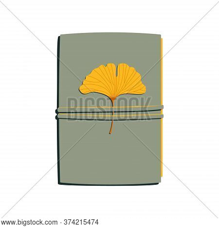 Notebook , With Yellow Leaf Of Ginkgo Biloba, Diary, Memories. Autumn. Vector Illustration Isolated