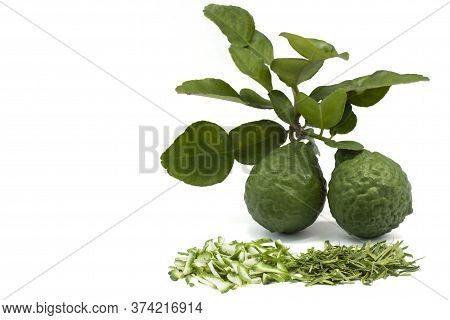 Slice Bergamot, Kaffir Lime, Leech Lime Or Mauritius Papeda Fruit And Leaf Is A Vegetable And Herb O