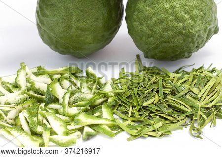 Closeop Slice Bergamot, Kaffir Lime, Leech Lime Or Mauritius Papeda Fruit And Leaf Is A Vegetable An
