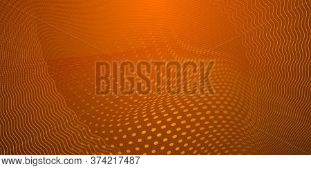 Abstract Background Made Of Halftone Dots And Curved Lines In Orange Colors
