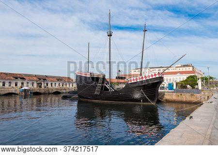 Rio De Janeiro, Brazil - June 30, 2020: Nau Capitania, Replica Of Boat Used By Pedro Alvares Cabral