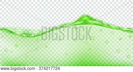 Translucent Water Wave In Green Colors With Air Bubbles, Isolated On Transparent Background. Transpa