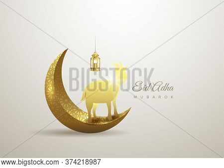 Eid Al Adha Mubarak The Celebration Of Muslim Community Festival Background Design With Goat, Moon A