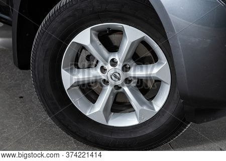 Novosibirsk/ Russia - June 10 2020: Nissan Pathfinder  ,  Car Wheel With Alloy Wheel And New Rubber