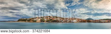 Panoramic View Of The Waterfront Of Pylos, Greece.