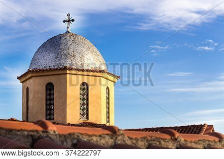 Closeup Of The Dome With A Cross On The Top Of The Orthodox Church Agios Nikolaos In Metaxochori In