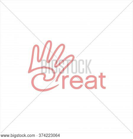 Hand Logo Simple Black Line Creative Design Template. Handcraft Icon Inspiration
