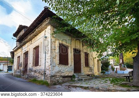 Facade Of A Vintage Old House In Metaxohori Village, Thessaly, Greece.